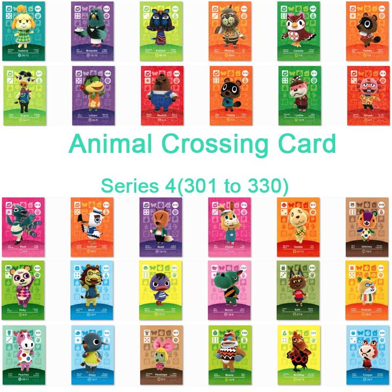 <font><b>Animal</b></font> <font><b>Crossing</b></font> <font><b>Card</b></font> <font><b>Amiibo</b></font> <font><b>Card</b></font> Work for NS Games Series 4 (301 to 330) image