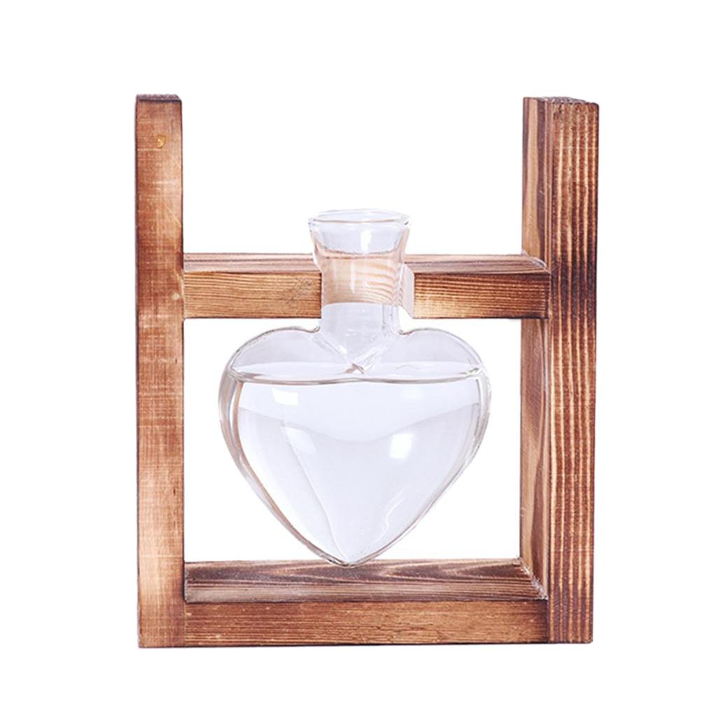 f17bcb5977 Estilo Vintage amor forma de corazón de cristal transparente Mesa planta  Bonsai florero boda fiesta terrario