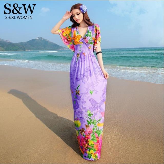 ab9f1cb750 Plus Size XXXL 4XL 5XL 6XL Sexy Summer Style Women V-Neck Print Floral Bohemian  Beach Dress Long Maxi Chiffon Dresses Big Size