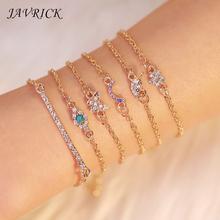 6Pcs Ladies Bracelet Set Butterfly Eye Star Moon Leaves Crystal Gem Bracelet Set Women Jewelry цены
