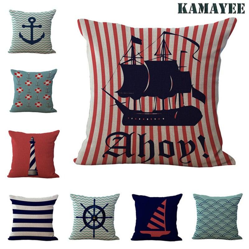 New Marine Anchor Sailors Cotton Fabric Linen Sofa Decor Pillow Cushion Cover