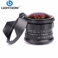 Lightdow 7.5mm F2.8 F22 Manual Fixed Focus Fisheye Lens for Mirrorless Cameras Sony E mount/ FX Molunt/M4/3 Mount