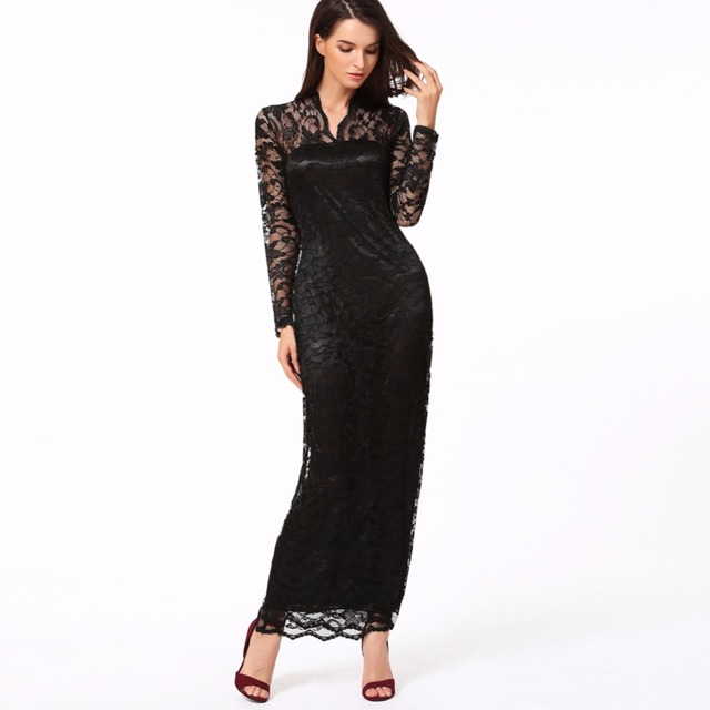 New Ladies' Sexy V-Neck Slim Scallop Neck Lace Women Maxi Dress Long Sleeve Wedding Evening Vestido De Renda