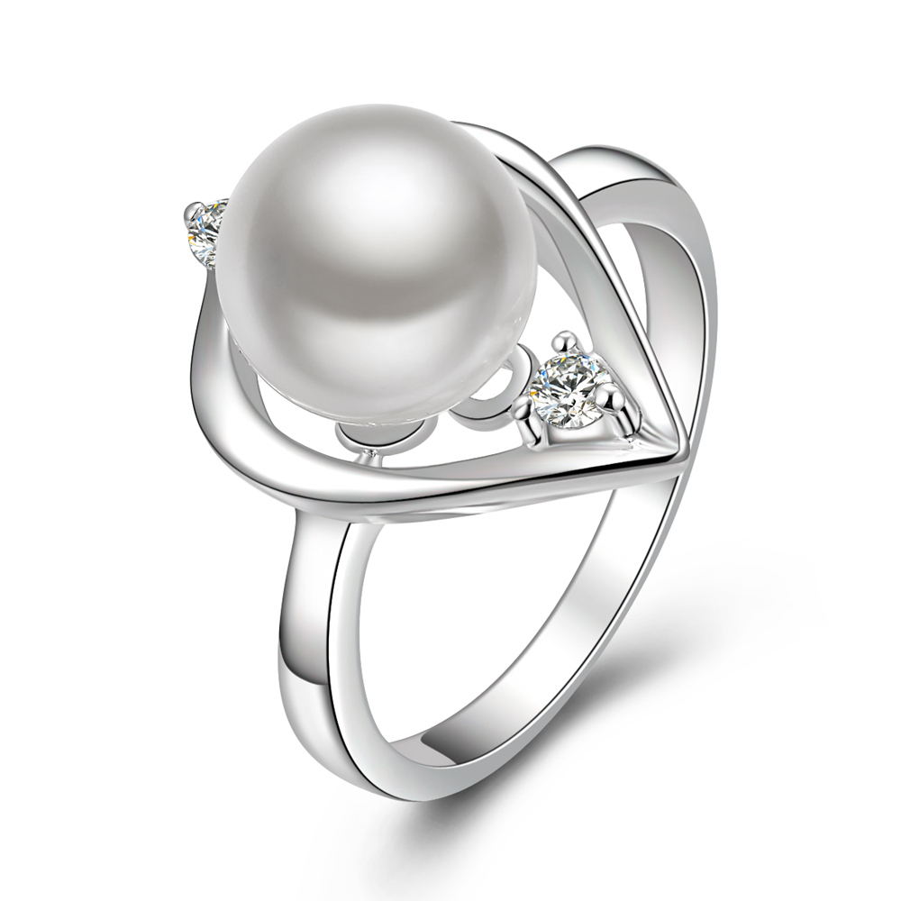 Fashion 925 silver jewelry water drops pearl ring dating dinner beautiful lady with ...