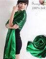 Люксовый бренд шарф женщин платки и шарфы зима обертывания 100% шелкового Атласа Зеленый пашмины double faced атласная шарф фуляр хиджаб