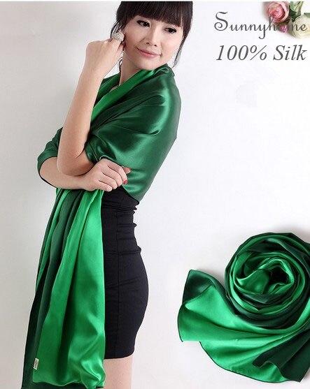 Luxusní šátek dámské šály a šátky zimní zábaly 100% saténové hedvábí zelená paštika oboustranná saténová šála faulard hidžáb