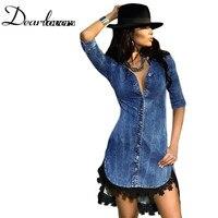 Dear lover Vestido Casual Jeans Delgado Vestido de Otoño e Invierno Estilo europeo Encaje Button Recortar Señoras Camisa de Vestir de Mezclilla LC22439