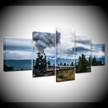 Canvas Painting Funny Train Steam Wall Art Pictures 5 Pieces Modular Wallpapers  Poster Framework Print living room Home Decor