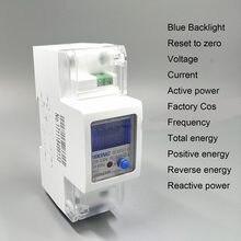 Medidor de energia da hora do watt do trilho kwh do ruído da fase monofásica ativa reversa positivo da corrente da tensão de 65a 100a 230v 50hz 60hz