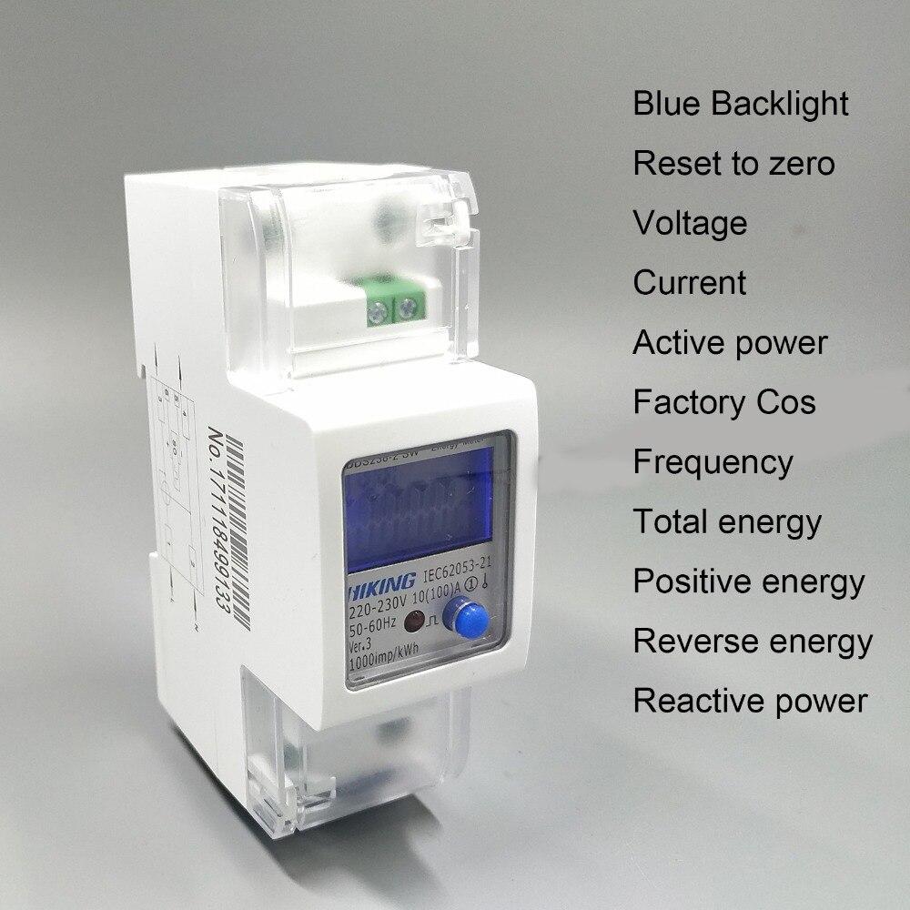 65A 100A 230 V 50Hz 60Hz voltaje corriente potencia reactiva positiva inversa positiva monofásico Din rail KWH watt hora medidor de energía