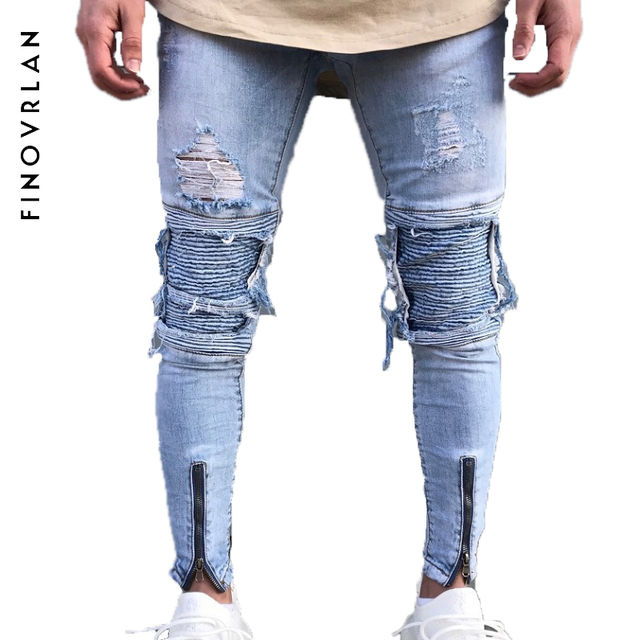ffb5e4b64c 2018 New design Men zippers jeans Distressed Ripped holes patchwork jeans  men Skinny hip hop blue jeans for men