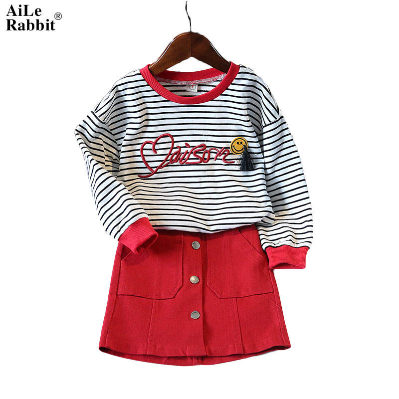 AiLe Rabbit New Baby Children clothes sets for girls Fly sleeve Flower Cotton shirt + shorts summer set sport with belt clothes aile rabbit summer 2016 new baby boy pattern rabbit toddler plaid kids clothes children clothing set
