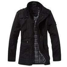 INCERUN 2017 Mens Fashion Reißverschluss Pockers Jacken Herbst Winter Tasten Mäntel High Neck Reißverschluss Outwear Schwarz Khaki