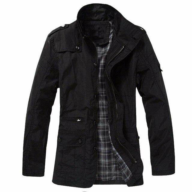 INCERUN 2017 Mens Fashion Military Zipper Pockers Jackets Autumn Winter Buttons Coats High Neck Zip Outwear Black Khaki