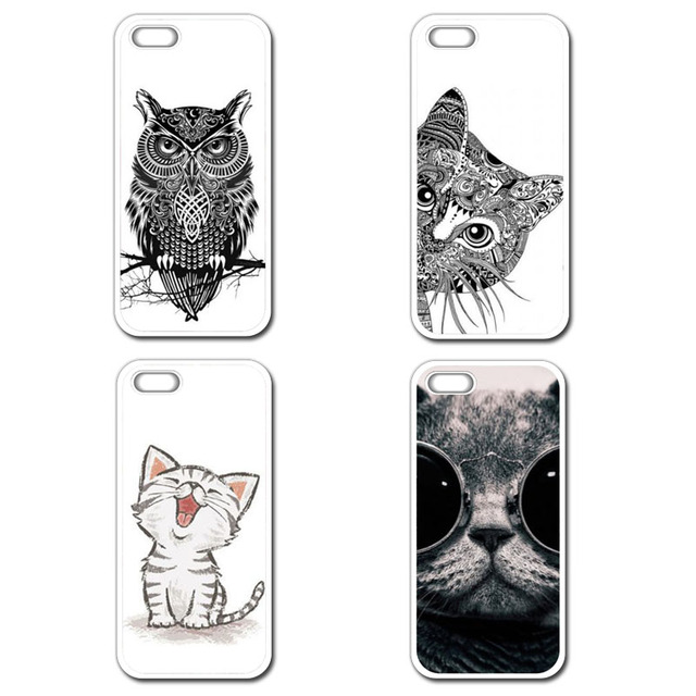 Black Cat Owl Cute Cover Case For iPhone 4 4S 5 5S 5C SE 6 6S 7 Plus Samsung Galaxy S3 S4 S5 Mini S6 S7 S8 Edge Plus A3 A5 A7