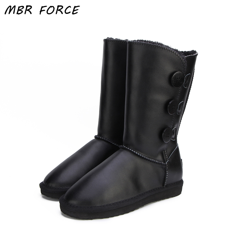 MBR FORCE Women's Snow Boots Waterproof Winter UG Boots Genuine Leather Fashion High Warm Fur Women Boots 6 colour Size 34-44