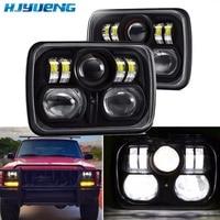 New Square 7x6 LED Headlights Light for Jeep Wrangler YJ Cherokee XJ motor Comanche 5x7Led Square Headlights Led working light
