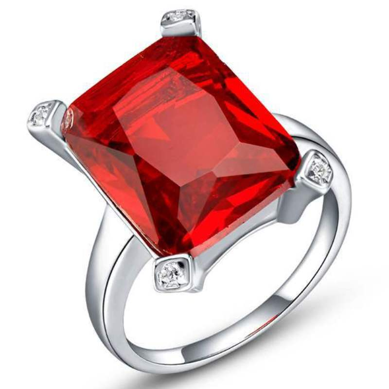 Silver Plated Square Ring Red Austrian Rainbow Crystal CZ Ring For Women Luxury Wedding Rings Romantic Christmas Gift
