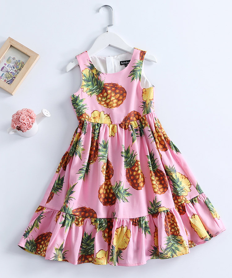 Summer Kids Clothes 100-160cm children pineapple sleeveless students big hem full patchwork sundress girls holiday beach dresses red longline sleeveless check shirt with split hem