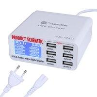 Новейший телефон Инструменты для ремонта 6 портов USB быстрое зарядное устройство с ЖК-дисплеем для Iphone samsung Ipad мобильный телефон инструмент ...
