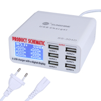 100V 240V Phone Repair Tools 6 Port USB Fast Charger With LCD Display for iPhone iPad Samsung Mobile Phone Repair Tool