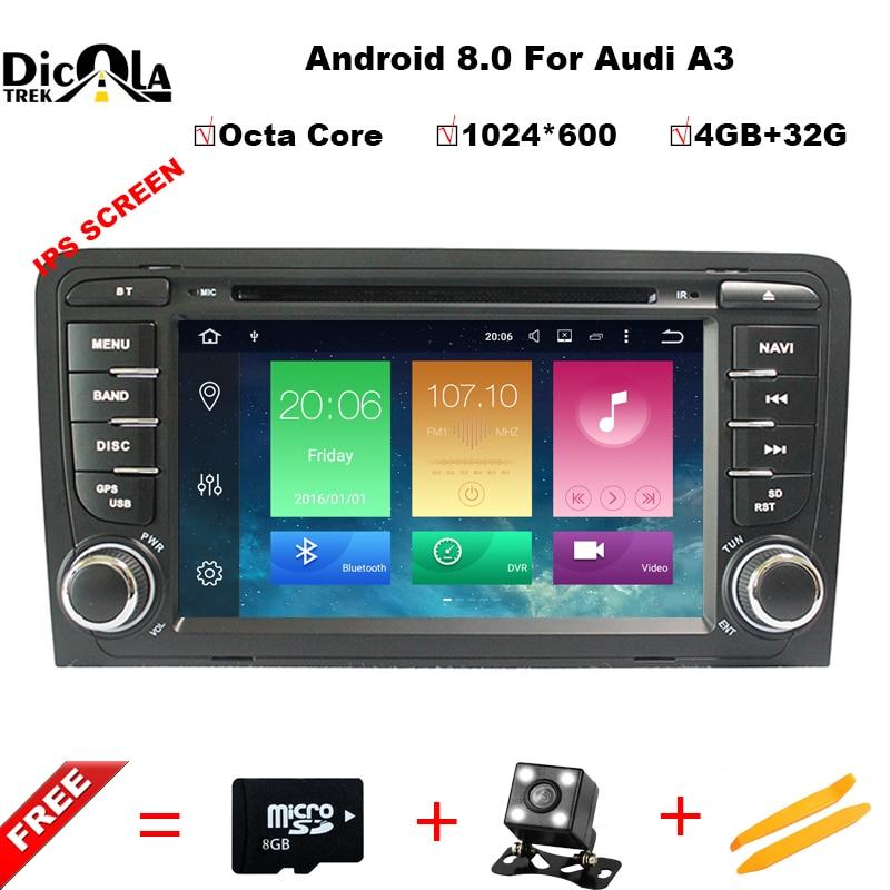 4 gb RAM Android 8.0 DVD de Voiture Lecteur Multimédia pour Audi A3/S3 2002-2011 avec Canbus Bluetooth WIFI GPS Navigation Radio Cartes Gratuites