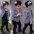 Дети новая мода черный белый клетчатую рубашку мальчиков весна/осень футболка с длинным рукавом дети марка одежды