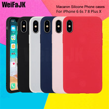 WeiFaJK Color TPU Silicone Matte Phone Case For iPhone 7 8 Plus 6 6s X Girls Soft Back Cover for iPhone 6 6s Plus 7 8 X Case(China)