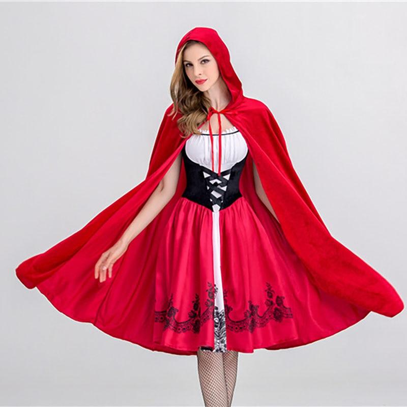 73e2cf7c422 S XL взрослых Для женщин сказка Красная Шапочка костюм женский Косплэй  красные платья clork фантазии вечерние Хэллоуин платье купить на AliExpress