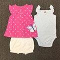 2017 Nuevo Verano de los Bebés de la Ropa de Recién Nacido 3 Unids Conjunto camiseta + Romper + Short Muchacha Del Niño Ropa de Algodón de Moda 15E