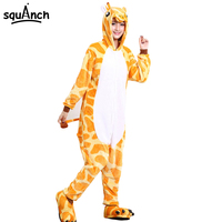High Quality Giraffe Animal Onesie Overall Pajama Women Men Adult Thicken Flannel Funny Suit Party Home