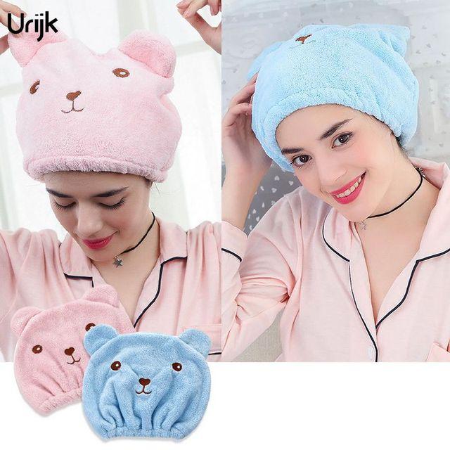 Urijk 1PC Fashion Face Towel for Women Adults Cute Bear Print Bath Towels Microfiber Quick-drying Absorbent Bathroom Towels