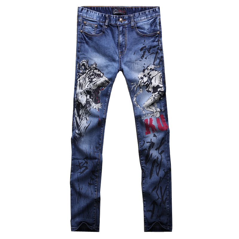 High Quality Blue Print Jeans Mens Small Stretch Men Jeans Fashion Slim Male Soft Denim Pants 2018 New