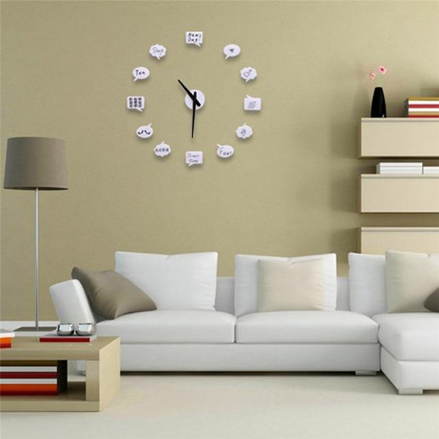 Free Shipping Funny Home Decor Graffiti Stickers Clock 3d Creative Diy Wall Clock