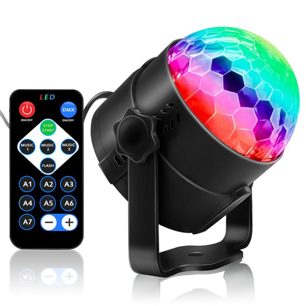 ICOCO Mini Disco Crystal Magic Led Stage Ball Light Lamp W/Remote Voice Control