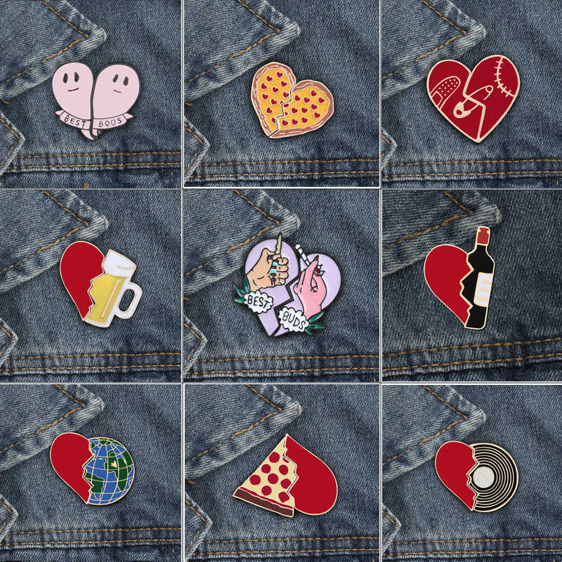 2 Pcs/set Heart Shap Enamel Botol Anggur Dunia Bros Lencana Pizza Piala Denim Shirt Lapel Pin Wanita Gadis Fashion perhiasan Hadiah
