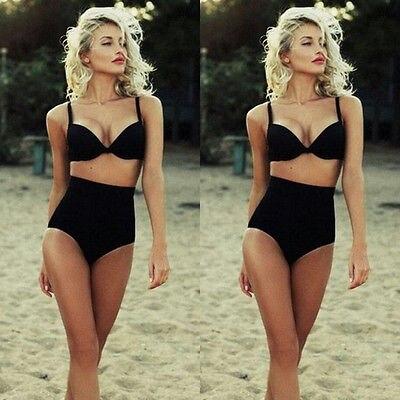 ee37b84c16d01 CUTEST RETRO SWIMSUIT SWIMWEAR Push UP High Waist Bikini Set Sexy Black  Solid Two-piece Bathing Suit