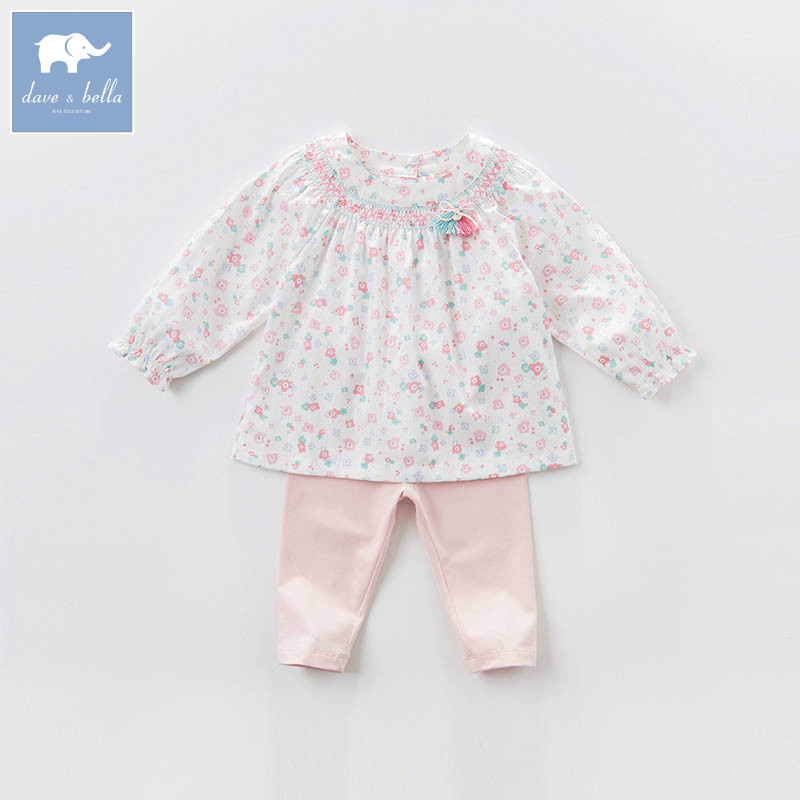DBM6963 dave bella spring baby girls clothing sets kids floral suit children toddle outfits high quality clothes db4499 dave bella summer baby girls lovely clothing sets kids stylish clothing sets toddle cloth kids sets baby fancy clothes