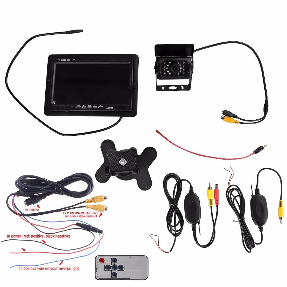 Buy Anshilong 12v 24v Wireless Ir Night Vision Rear Tft Lcd Monitor Wiring View Backup Camera 7 Kit For Truck Van Caravan Trailers From
