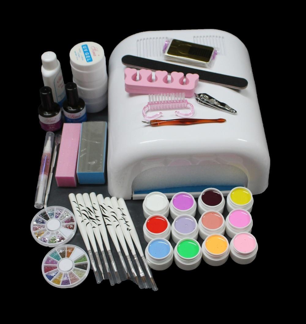 EM-134 Pro nail art uv kit , uv lamp kit ,manicure tool kit , nail kit ,nail art lamp set,12colors uv kit