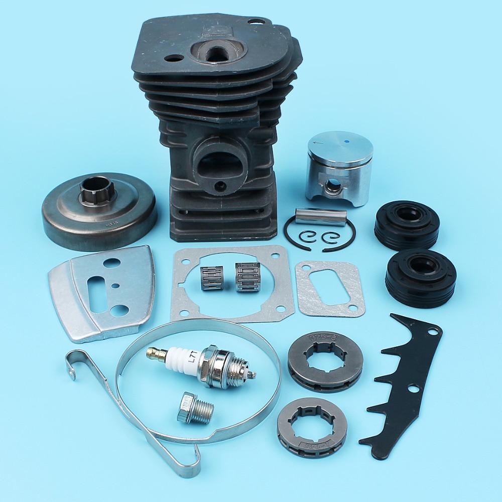 цена на 42mm Cylinder Piston Ring Pin Clutch Drum Oil Seal Sprocket Kit For Husqvarna 345 340 E Chainsaw .325