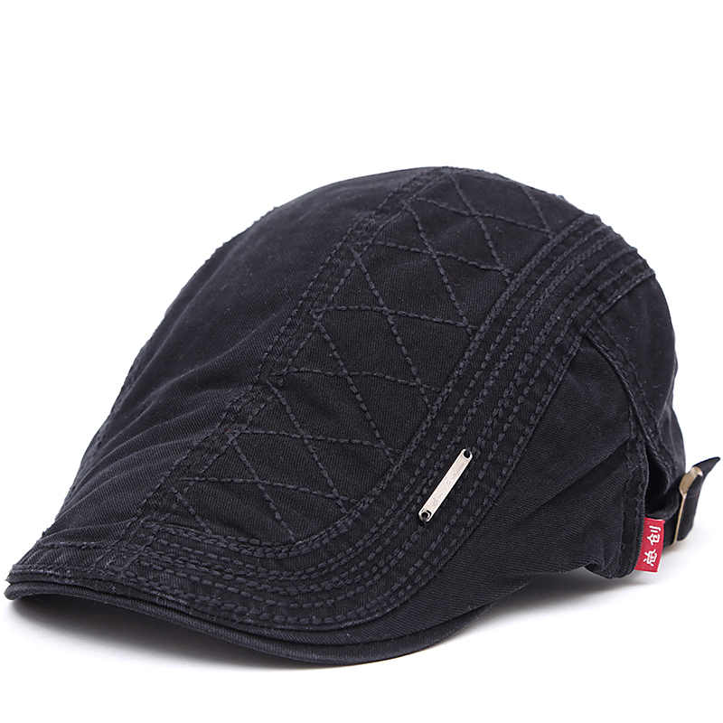 2017 New Autumn Outdoor Sports Cotton Berets Caps For Men Casual Peaked Caps Grid Embroidery Berets Hats Casquette Cap