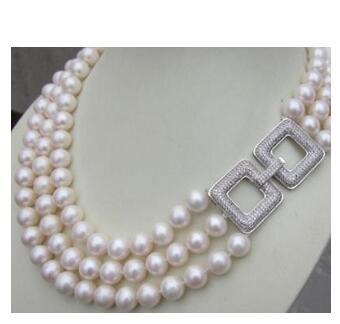 925 argent véritable véritable naturel 3 rangées AAA naturel 8-9mm mer blanche sud collier de perles 17-19 pouces conception de bijoux en gros