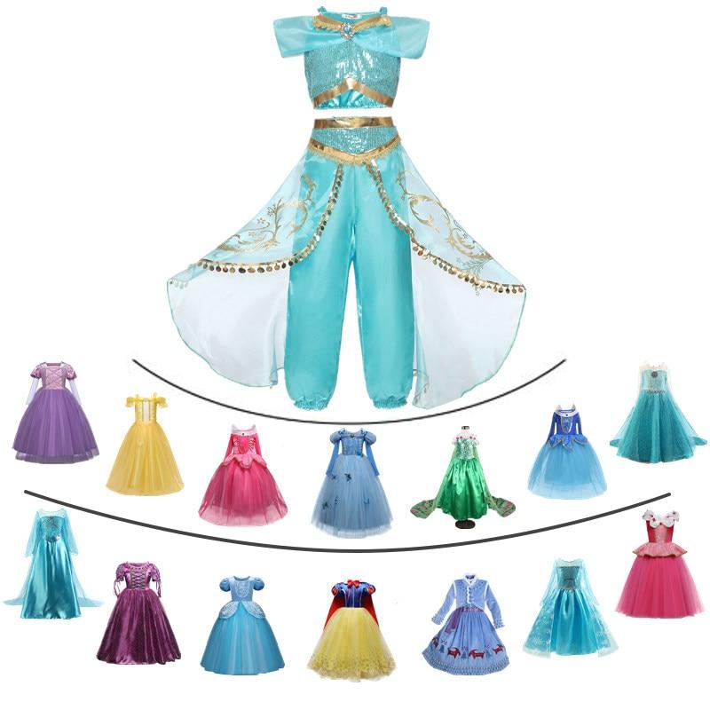 Cosplay Costume Belle Party-Clothes Princess-Dresses Jasmine Sofia Rapunzel Elsa Fancy