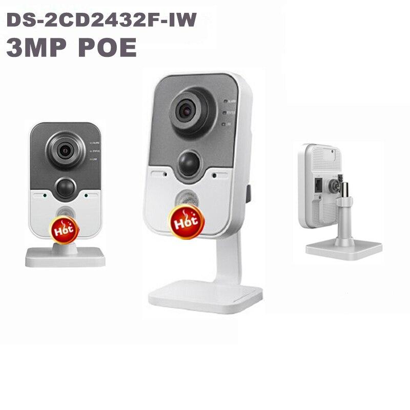 Free shipping Original DS 2CD2432F IW 3MP HD CCTV Infrared surveillance1080P camera IP mini box wifi