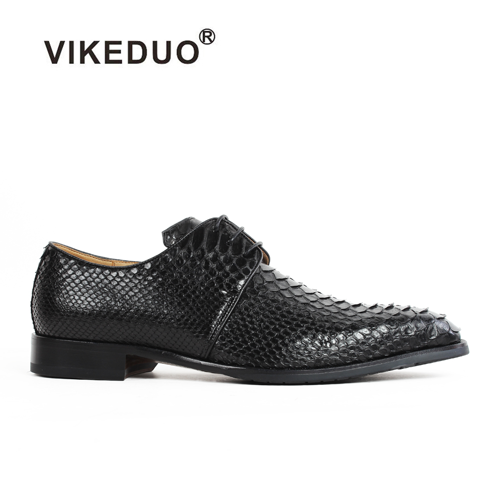 Vikeduo Handmade Snakeskin Vintage Retro Custom Fashion Luxury Wedding Party Original Design Genuine Leather Mens Derby Shoes 2017 vintage retro custom men flat hot sale real mens oxford shoes dress wedding party genuine leather shoes original design