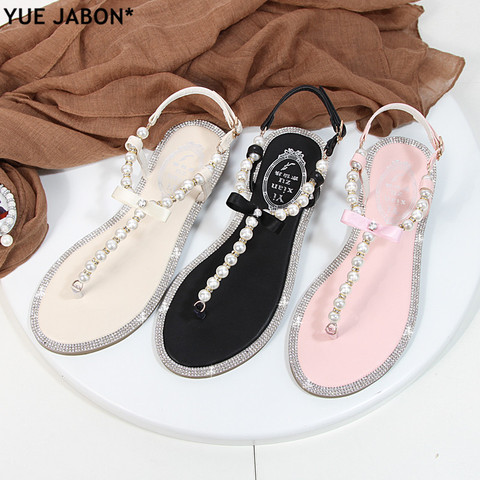 Women sandals 2018 new summer shoes flat pearl sandals comfortable string bead beach slippers casual sandals pink white black Multan