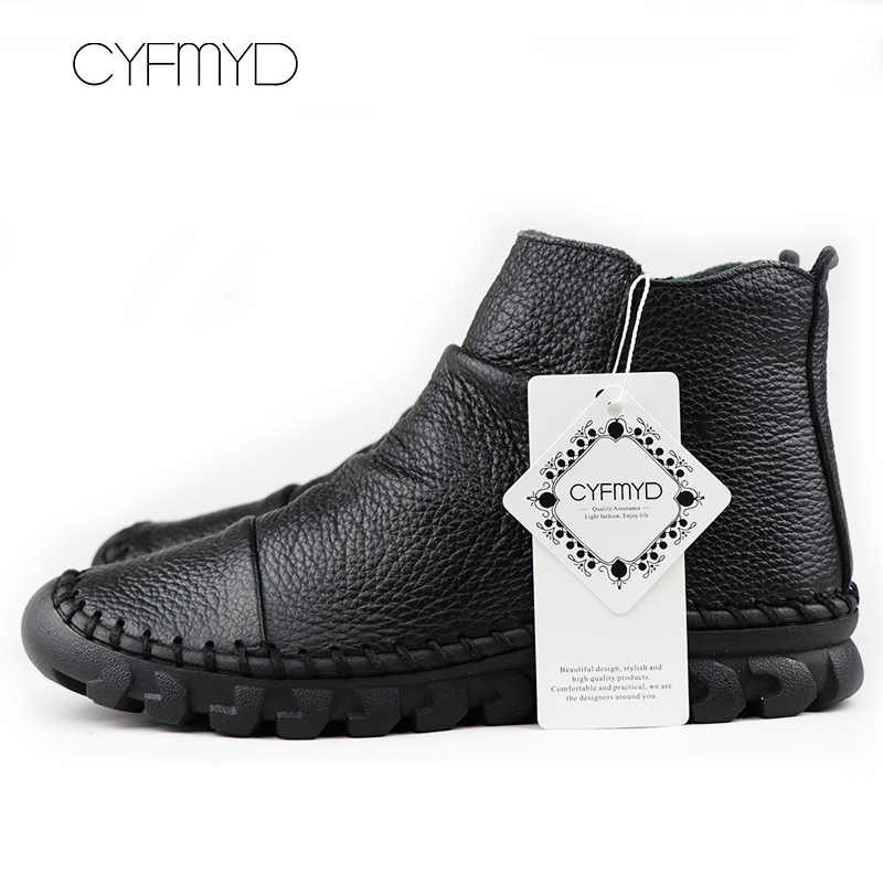 Sepatu Bot Kulit Asli Sepatu Wanita 2019 Musim Dingin Sepatu Mewah Lipit Kulit Sapi Boots Round Toe Sepatu Hitam Sapato Feminino