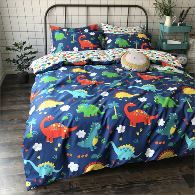 Cartoon Animal Dinosaur Flamingo Fish Car Stars Rocket Pattern Duvet Cover Bed Sheet Set 100