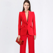 2019 Custom Casual Solid Women Pant Suits Notched Collar Blazer Jacket & Loose Pant Female Suit 2019 Spring Summer high quality(China)
